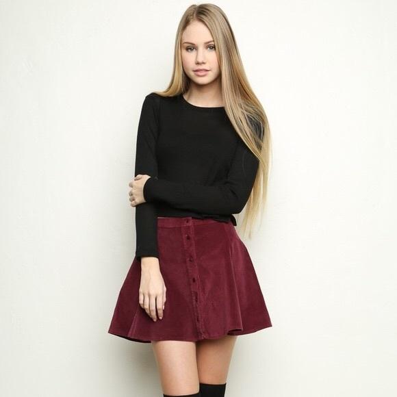 cbcca82263 Brandy Melville Dresses & Skirts - BRANDY MELVILLE Maroon Corduroy Button  Down Skirt